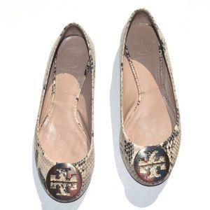 Tory Burch Reva Snake Skin Print Ballerina Flats